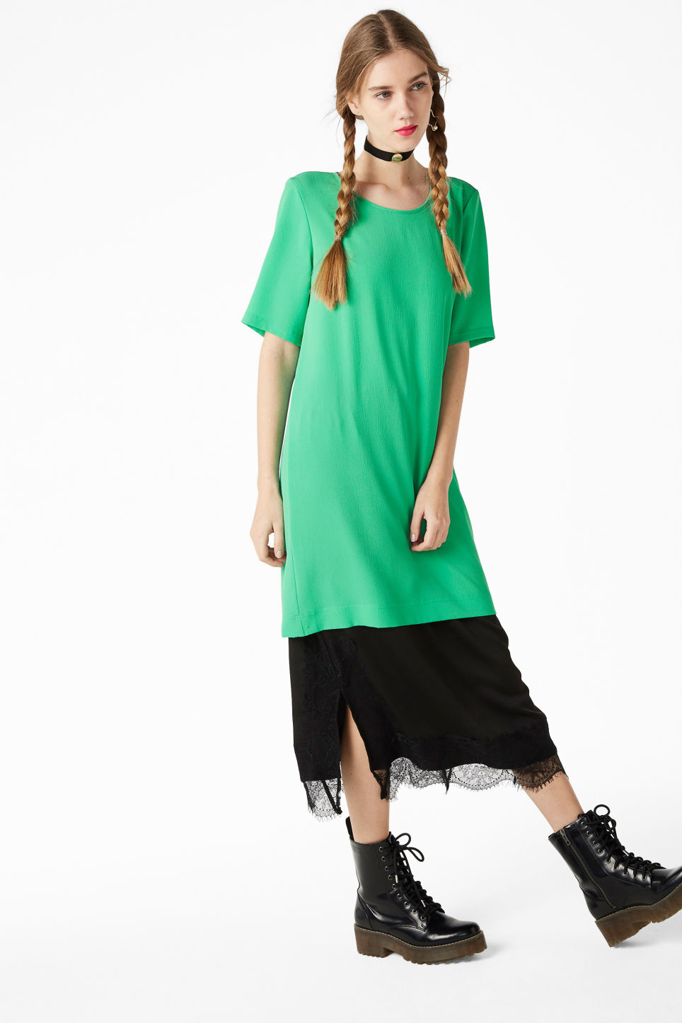 Model front image of Monki textured t-shirt dress in green