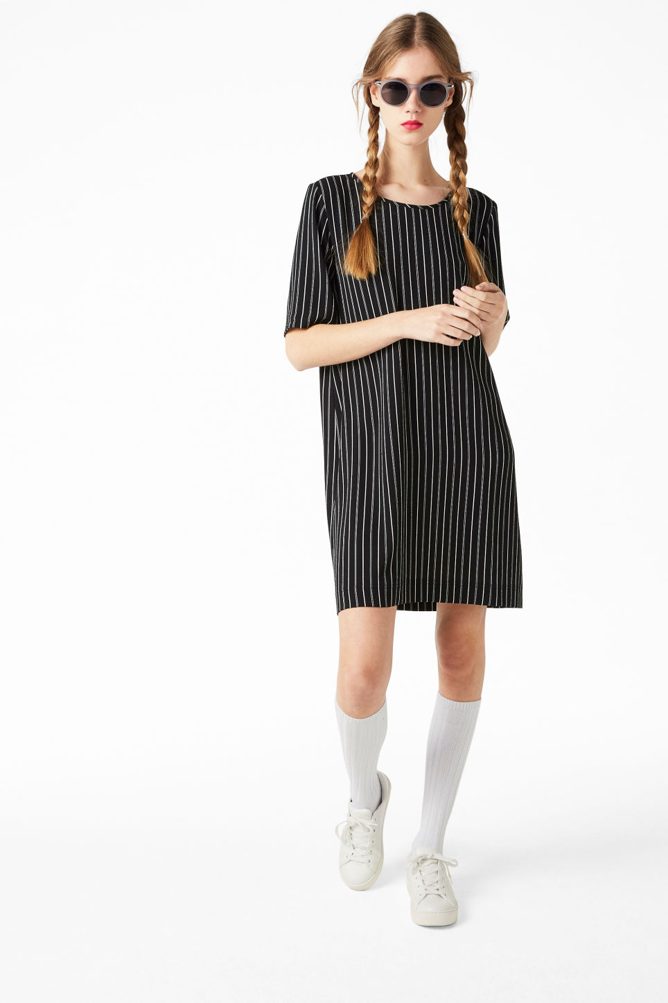 Model front image of Monki textured t-shirt dress in black
