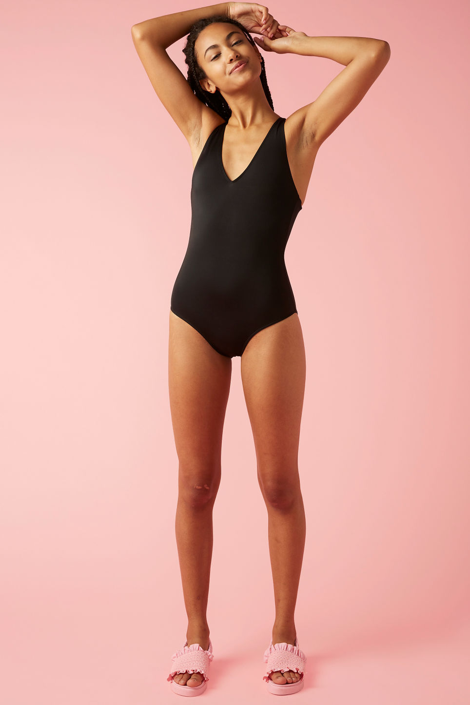 Model front image of Monki cross-back swimsuit in black