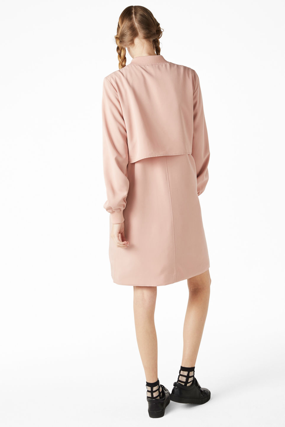 Model back image of Monki long lightweight jacket in pink
