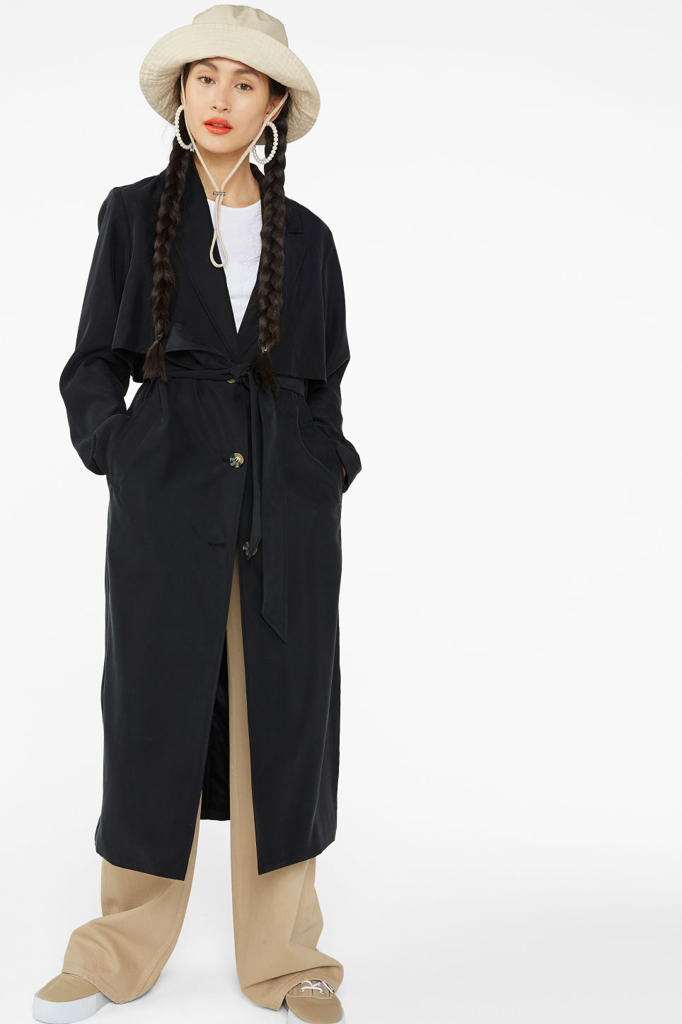 Model front image of Monki soft trench coat in black