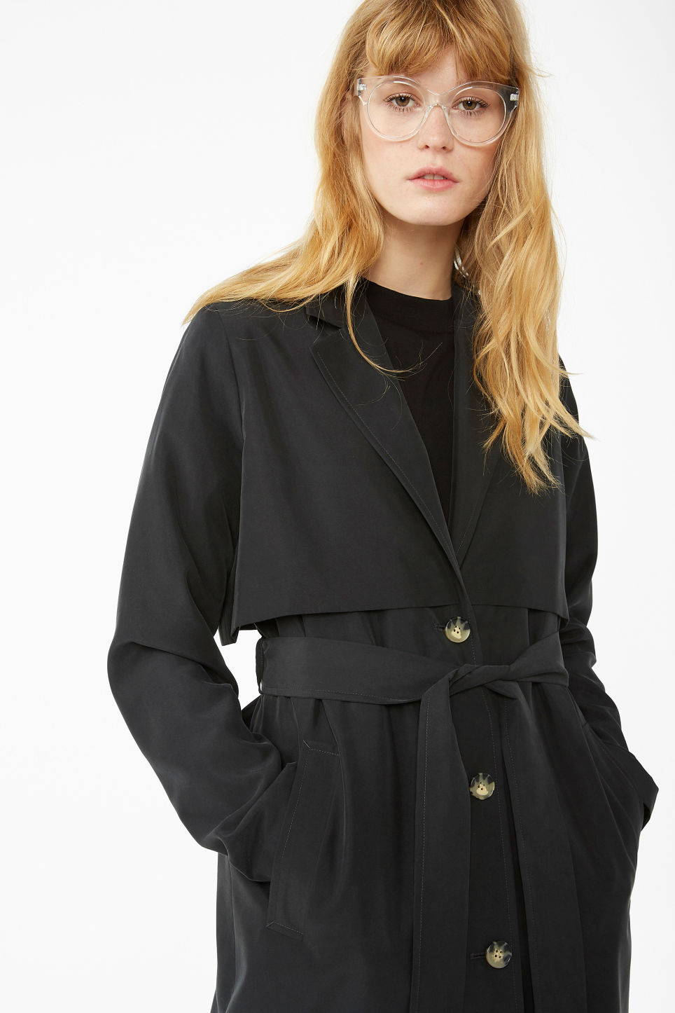 Model front image of Monki lightweight trench coat in black