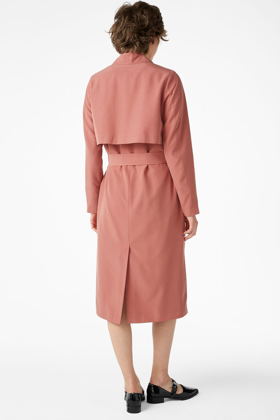 Model back image of Monki lightweight trench coat in orange