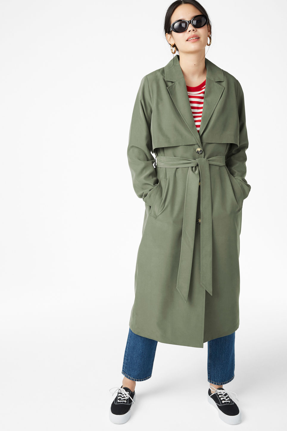 Model front image of Monki lightweight trench coat in green