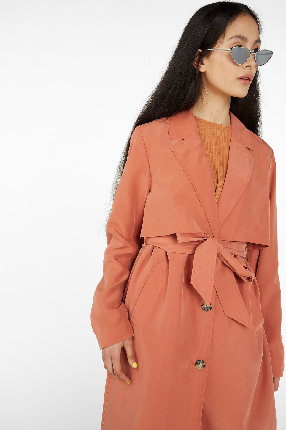Model front image of Monki soft trench coat in orange