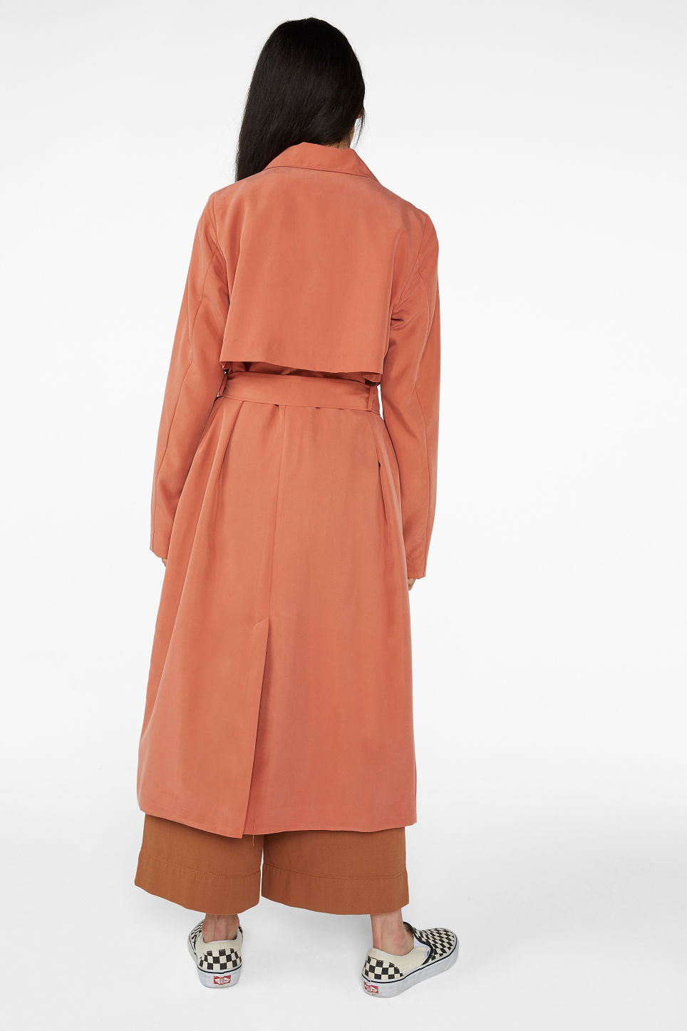 Model back image of Monki soft trench coat in orange