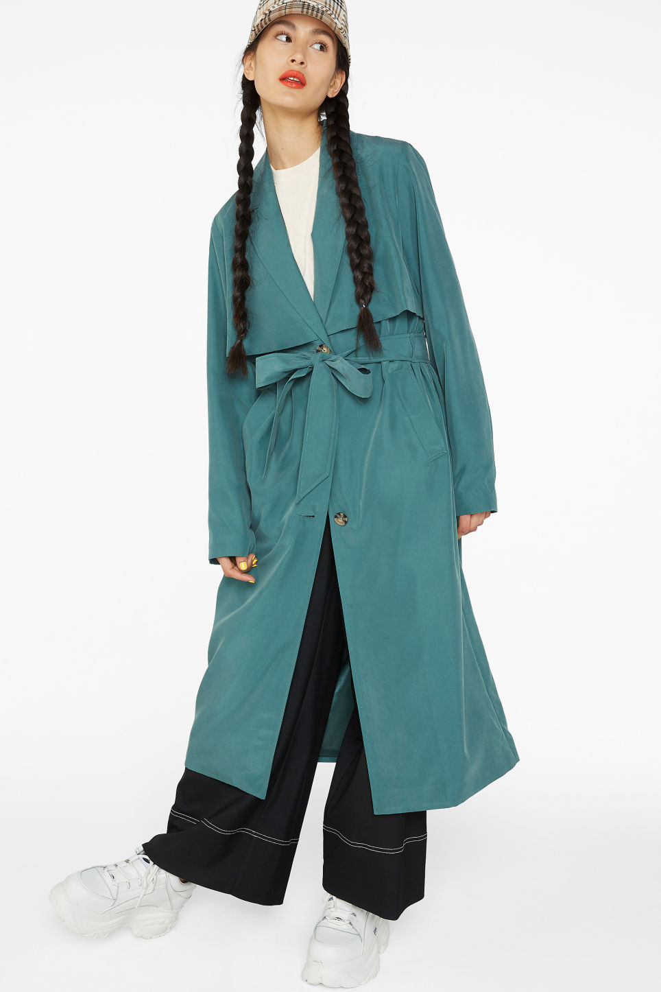 Model front image of Monki soft trench coat in turquoise