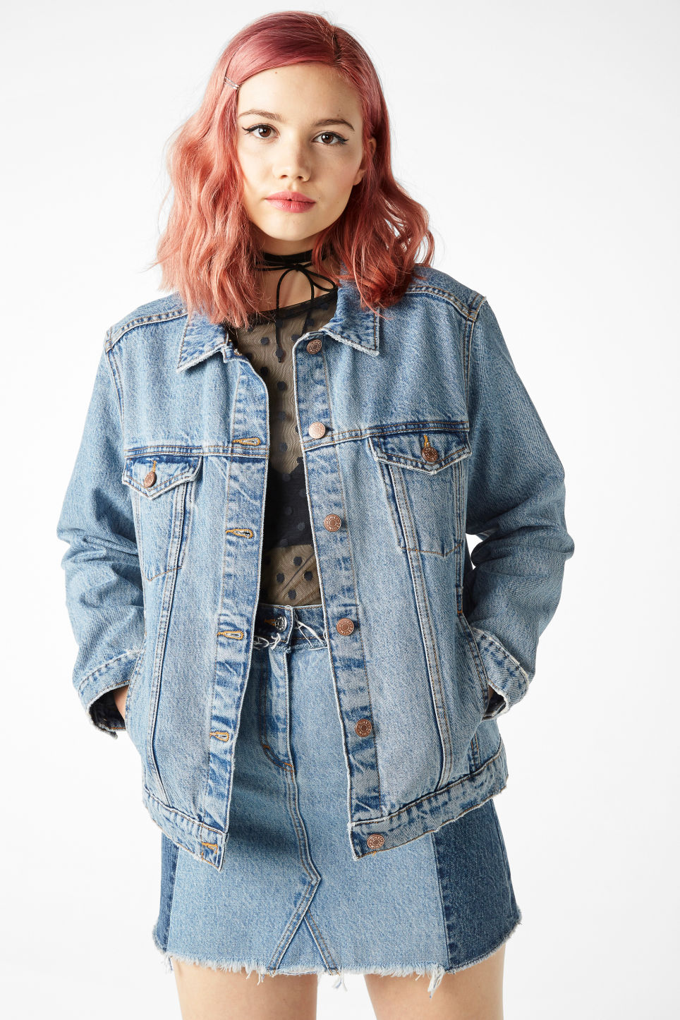 Model back image of Monki classic denim jacket in blue