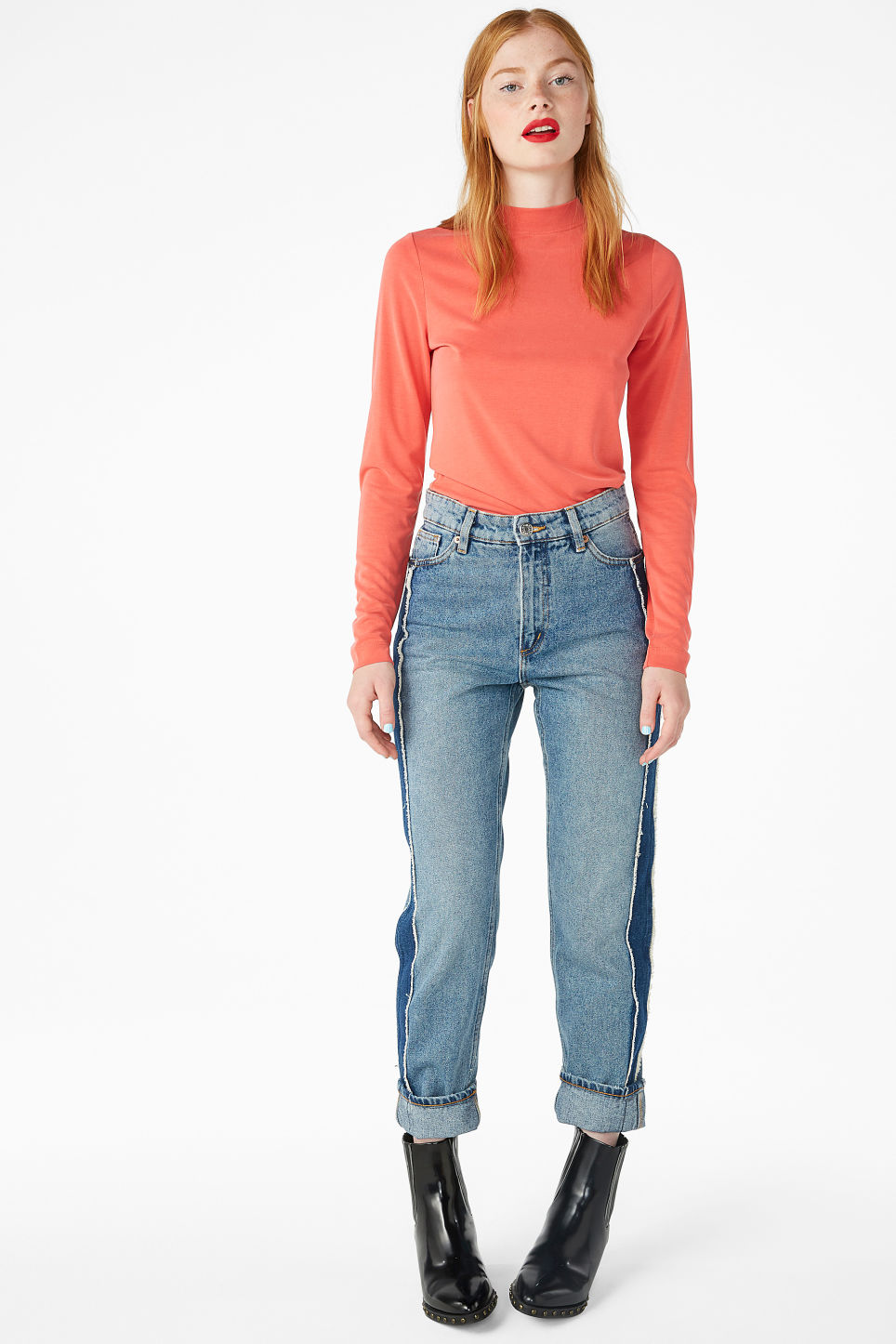 Model front image of Monki super-soft long sleeve top in red
