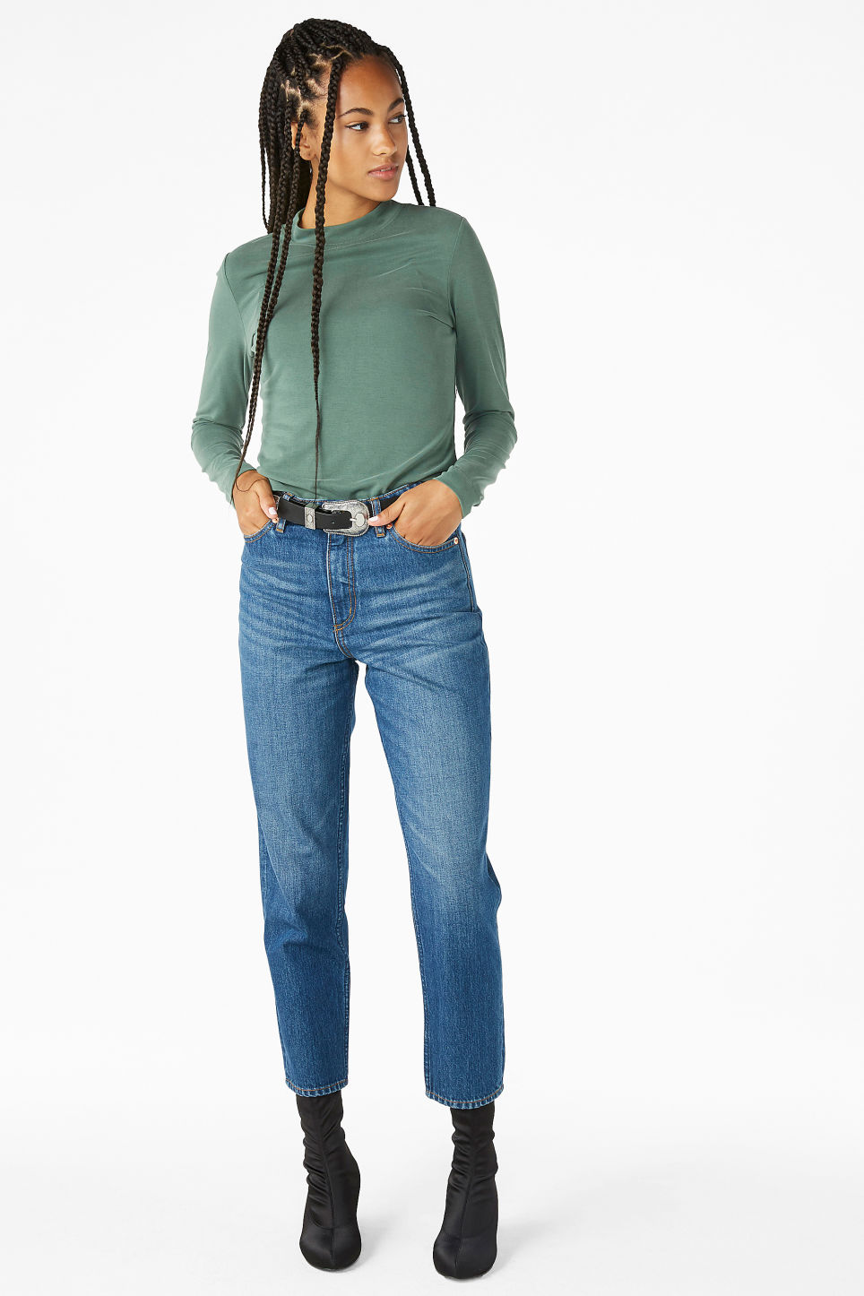 Model front image of Monki super-soft long sleeve top in green