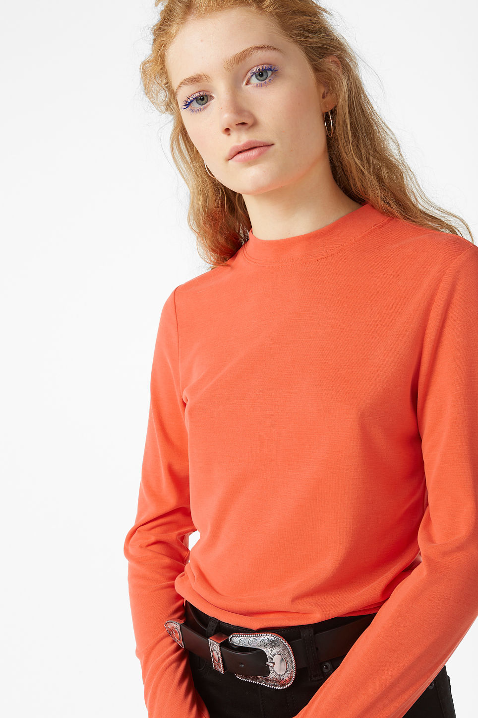 Model front image of Monki super-soft long sleeve top in orange