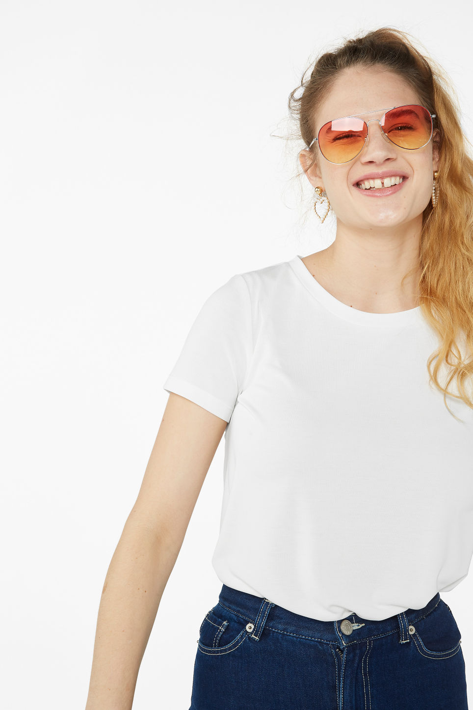 Model front image of Monki super-soft tee in white