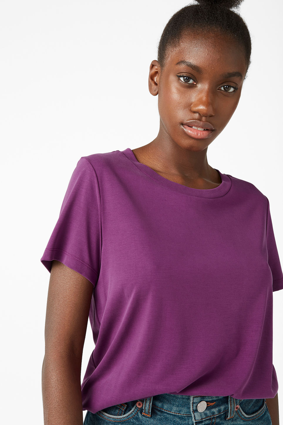 Model front image of Monki super-soft tee in purple