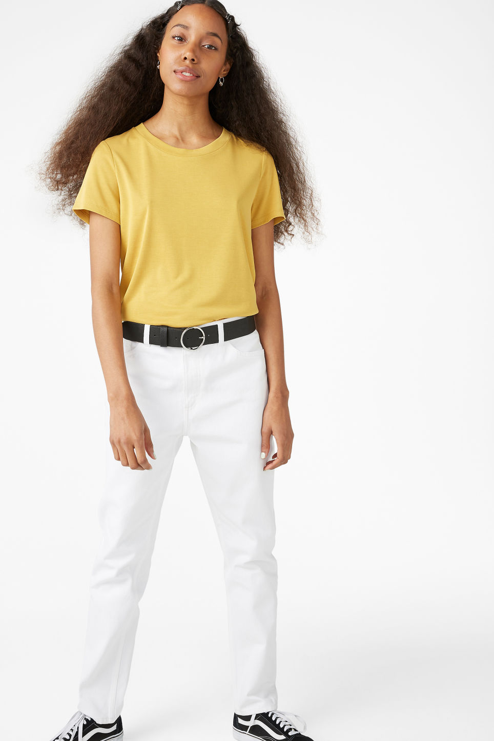 Model front image of Monki super-soft tee in yellow