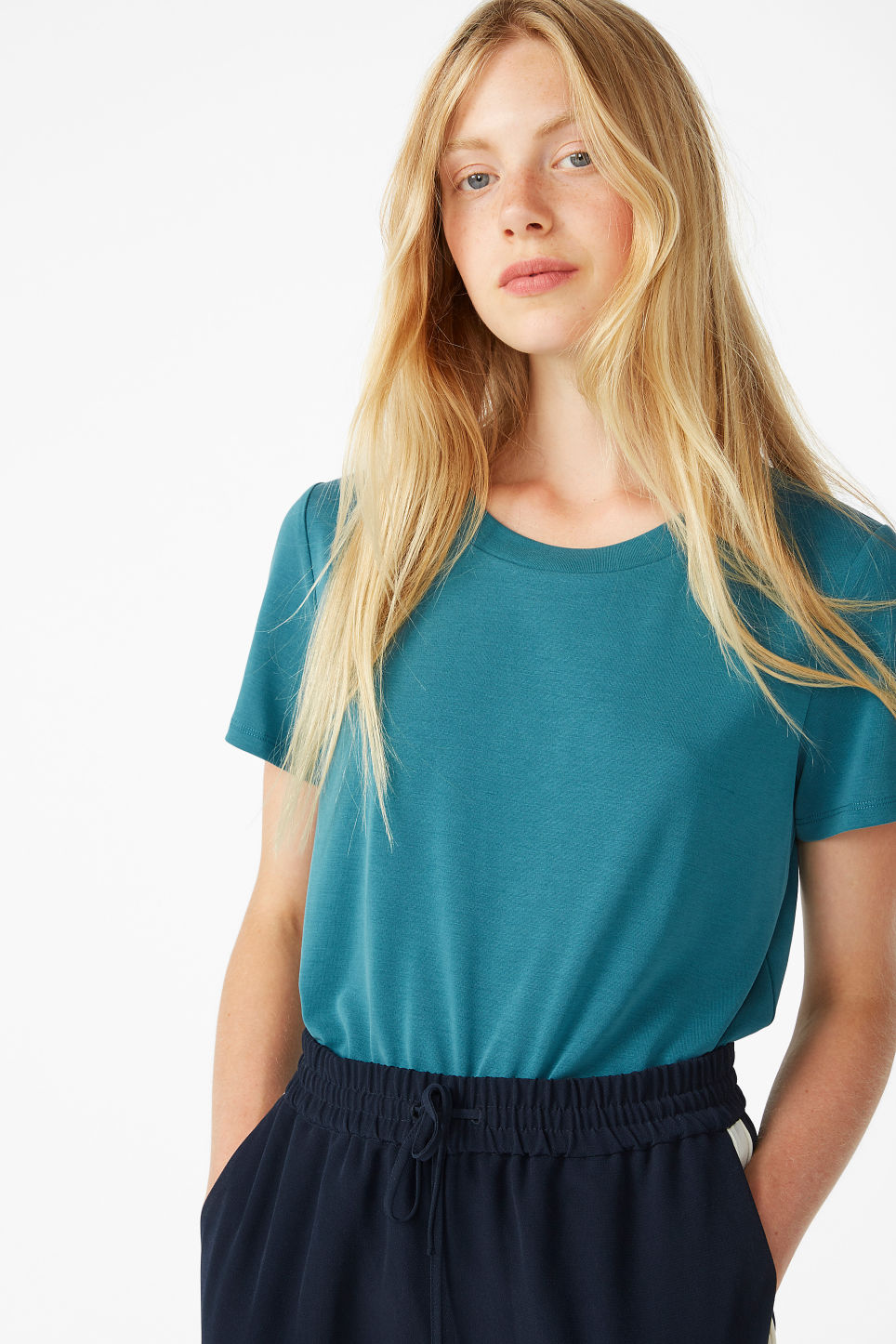 Model front image of Monki super-soft tee in green