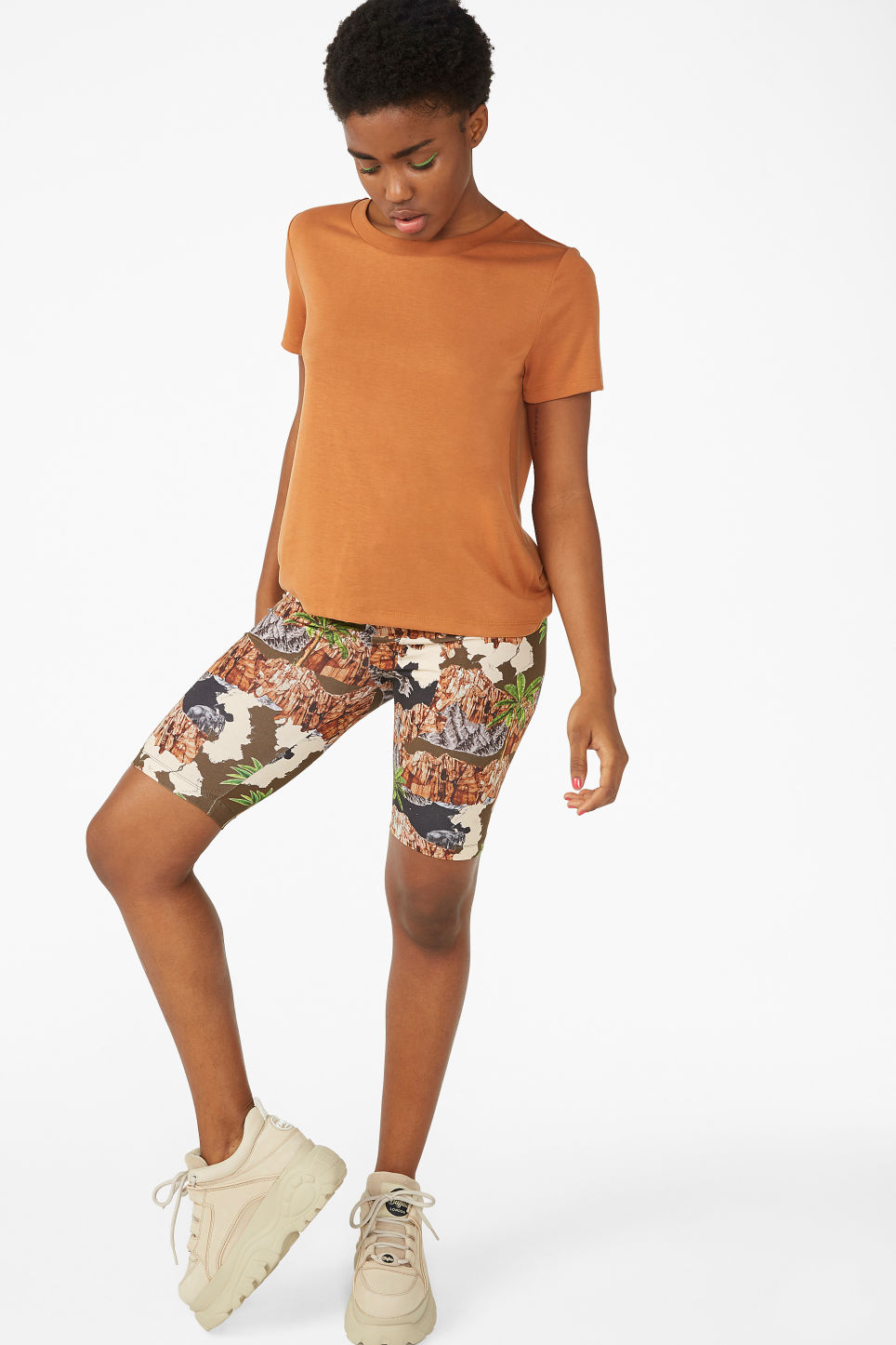 Model front image of Monki super-soft tee in orange