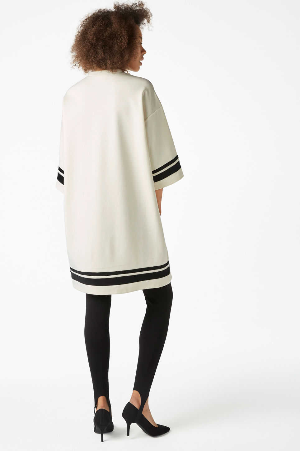 Model back image of Monki round neck sweater dress in white