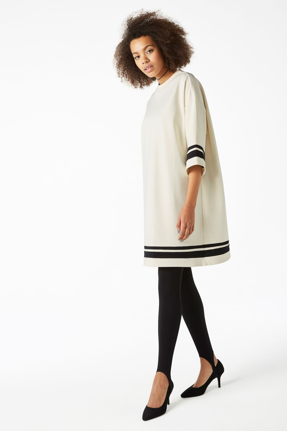 Model front image of Monki round neck sweater dress in white