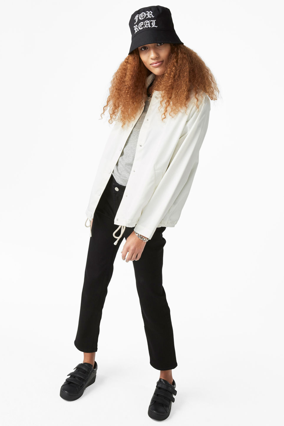 Model front image of Monki statement print windbreaker in white