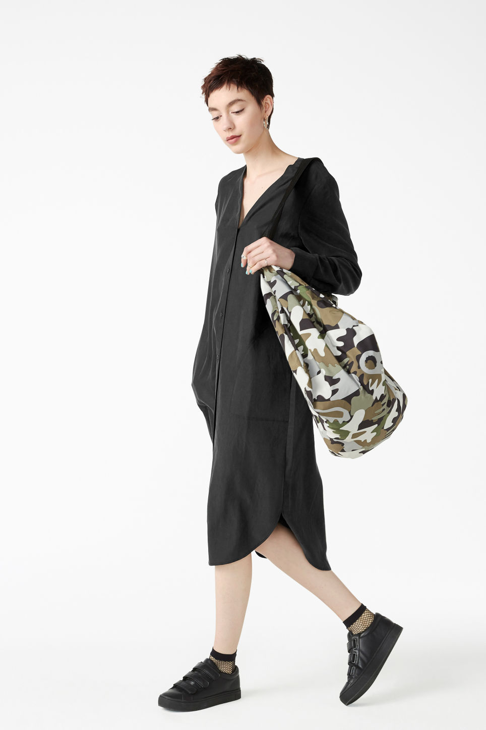 Model front image of Monki long sleeve dress in black