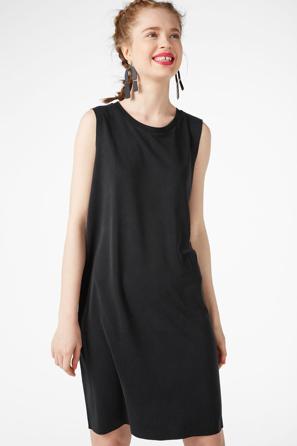 Model front image of Monki basic super-soft dress in black