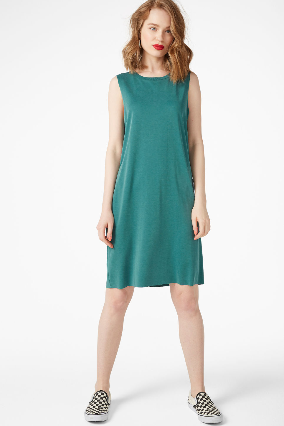 Model front image of Monki basic super-soft dress in green