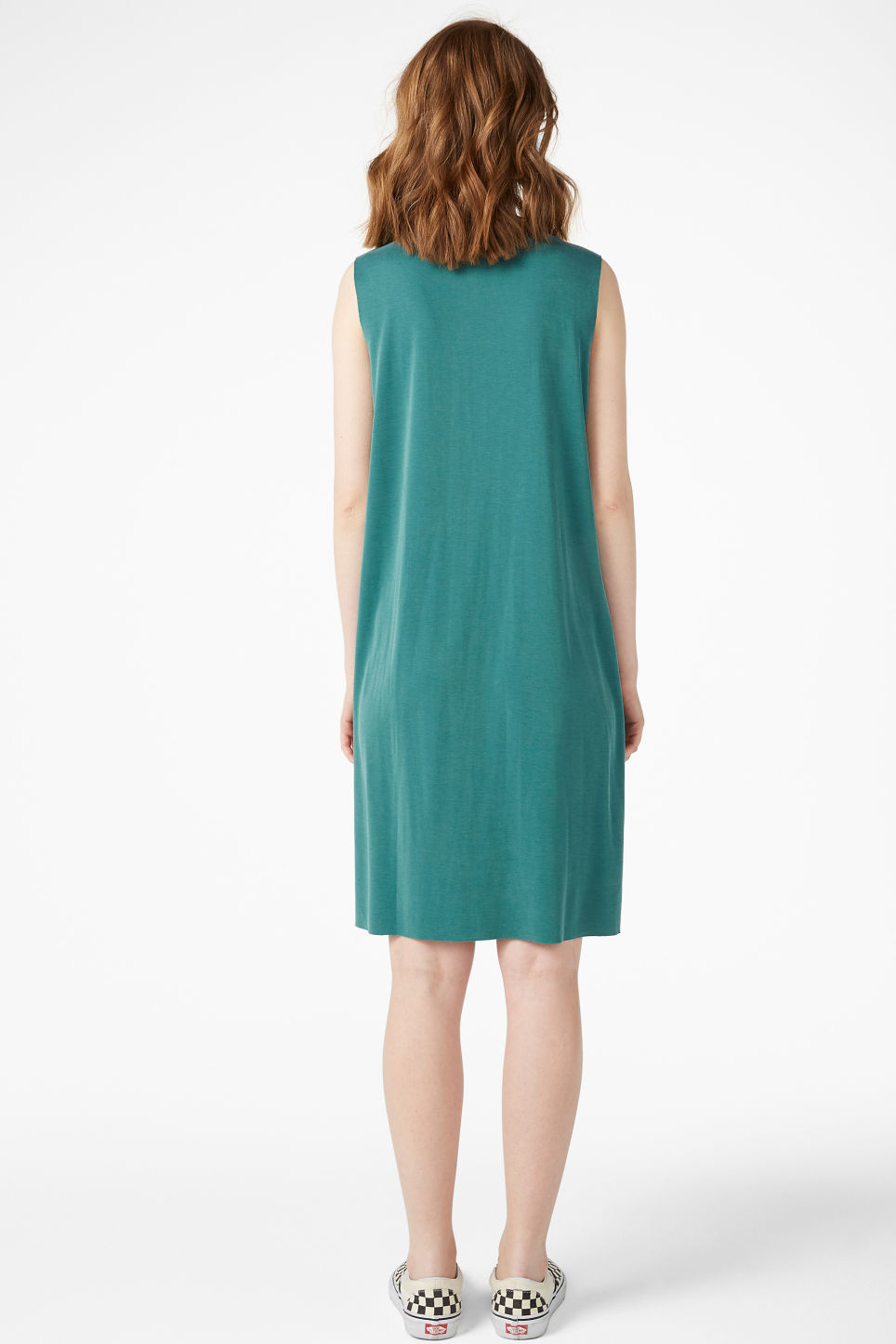 Model back image of Monki basic super-soft dress in green