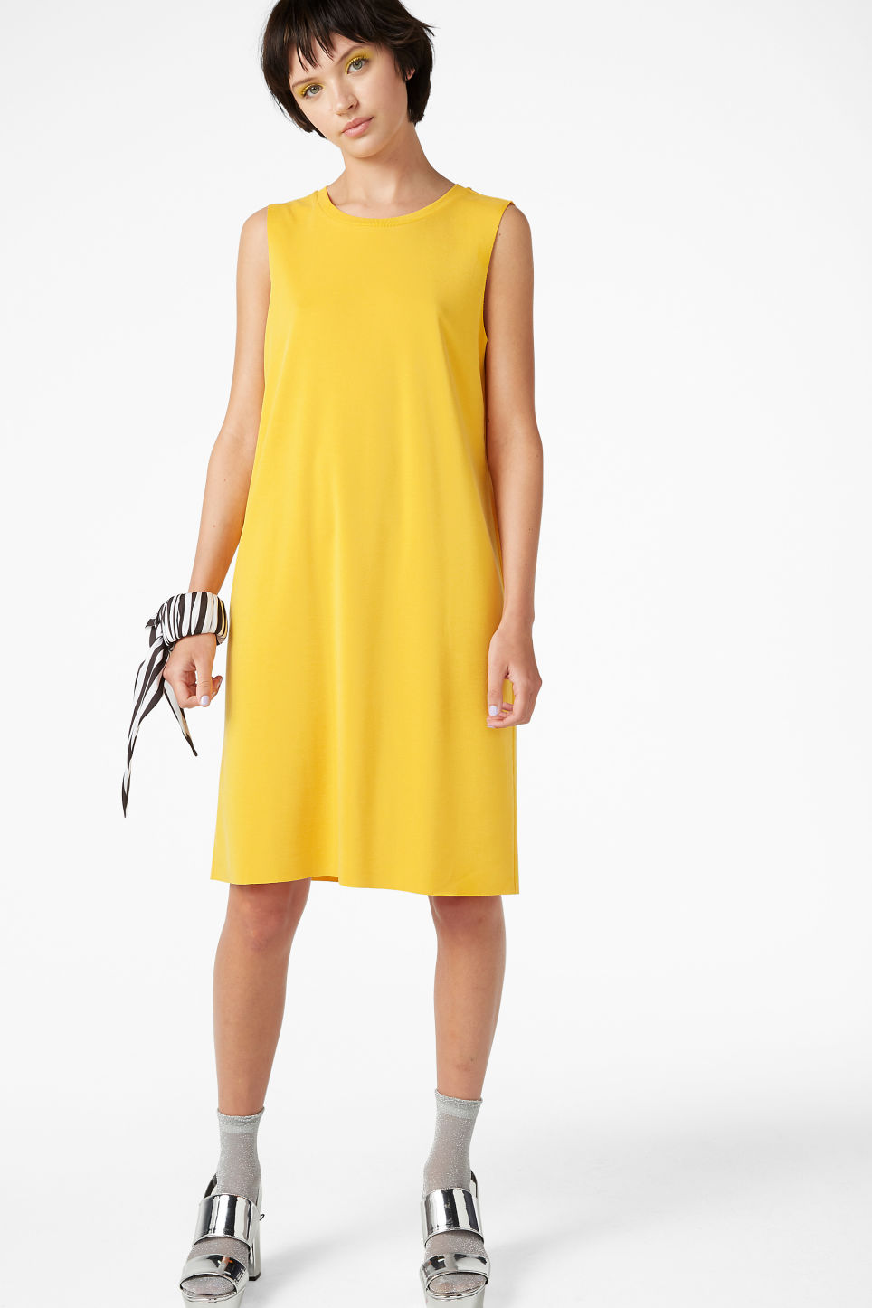 Model front image of Monki super-soft dress in yellow