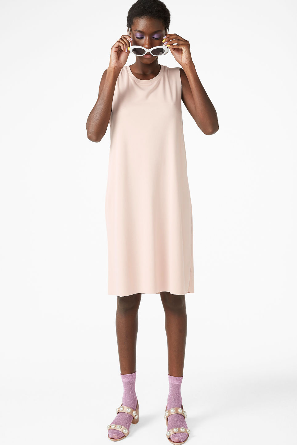 Model front image of Monki basic super-soft dress in orange