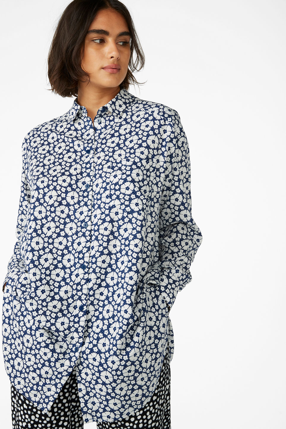 Model front image of Monki long blouse in blue