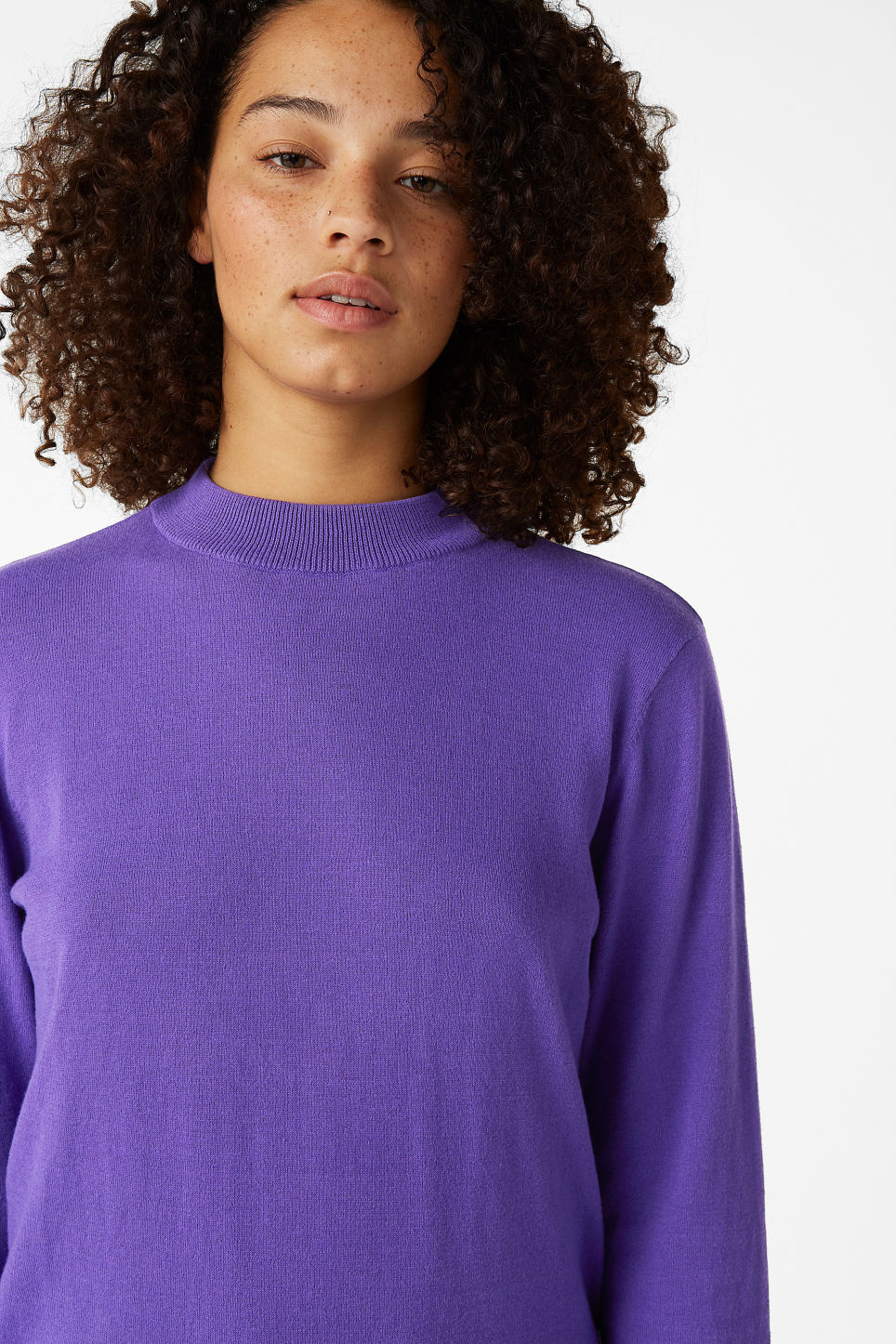 Model front image of Monki soft knit sweater in purple