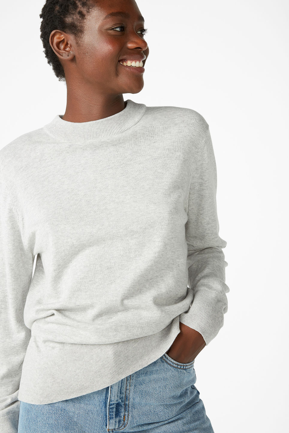 Model front image of Monki soft knit sweater in grey