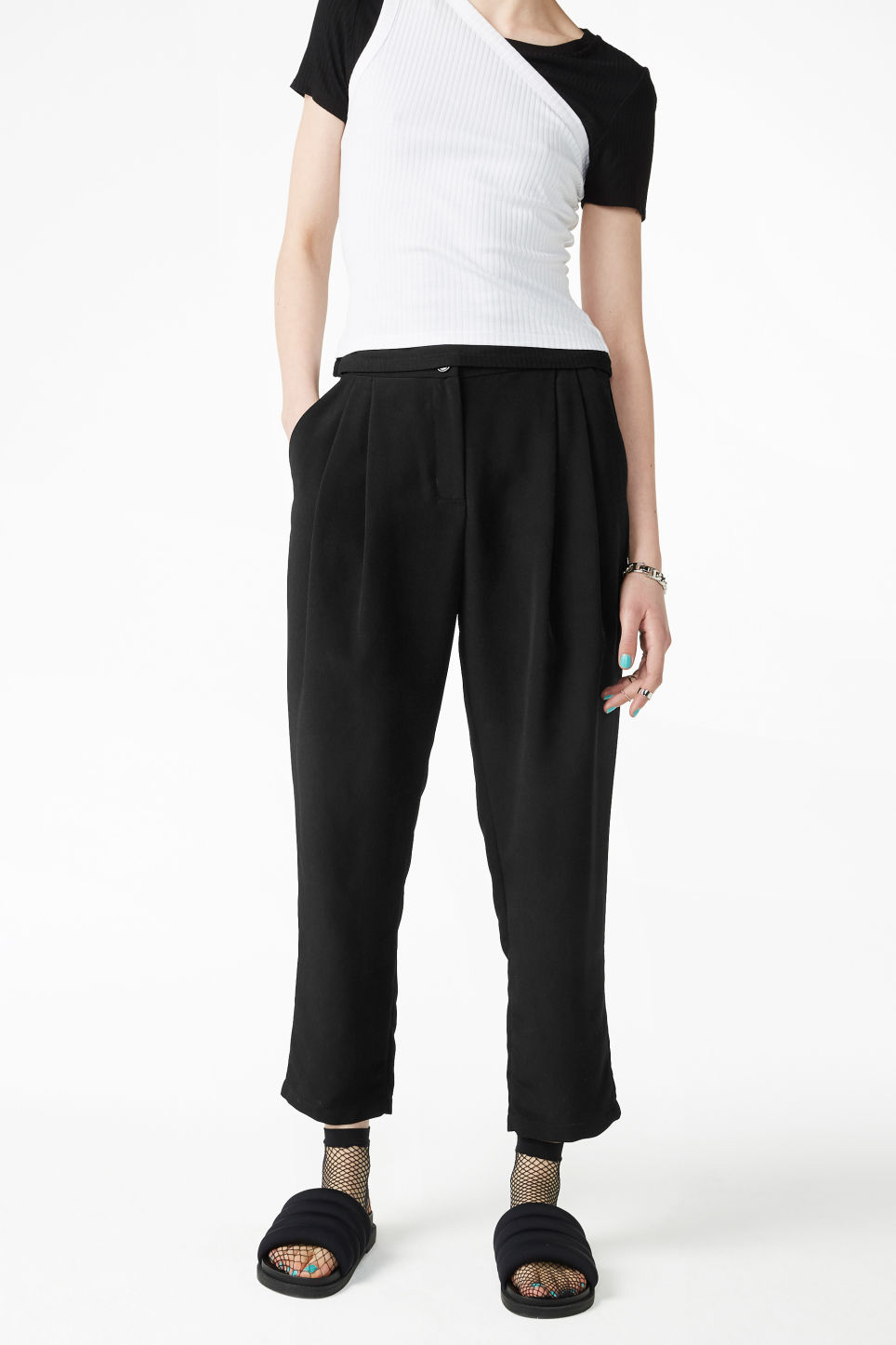 Model front image of Monki fancy trousers in black