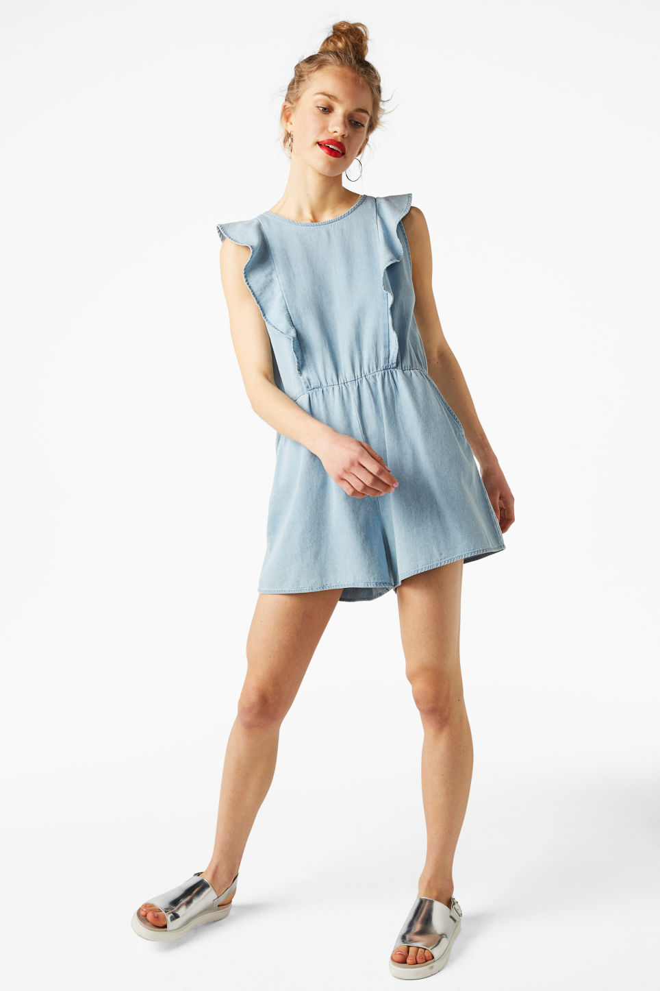 Model front image of Monki denim ruffle playsuit in blue