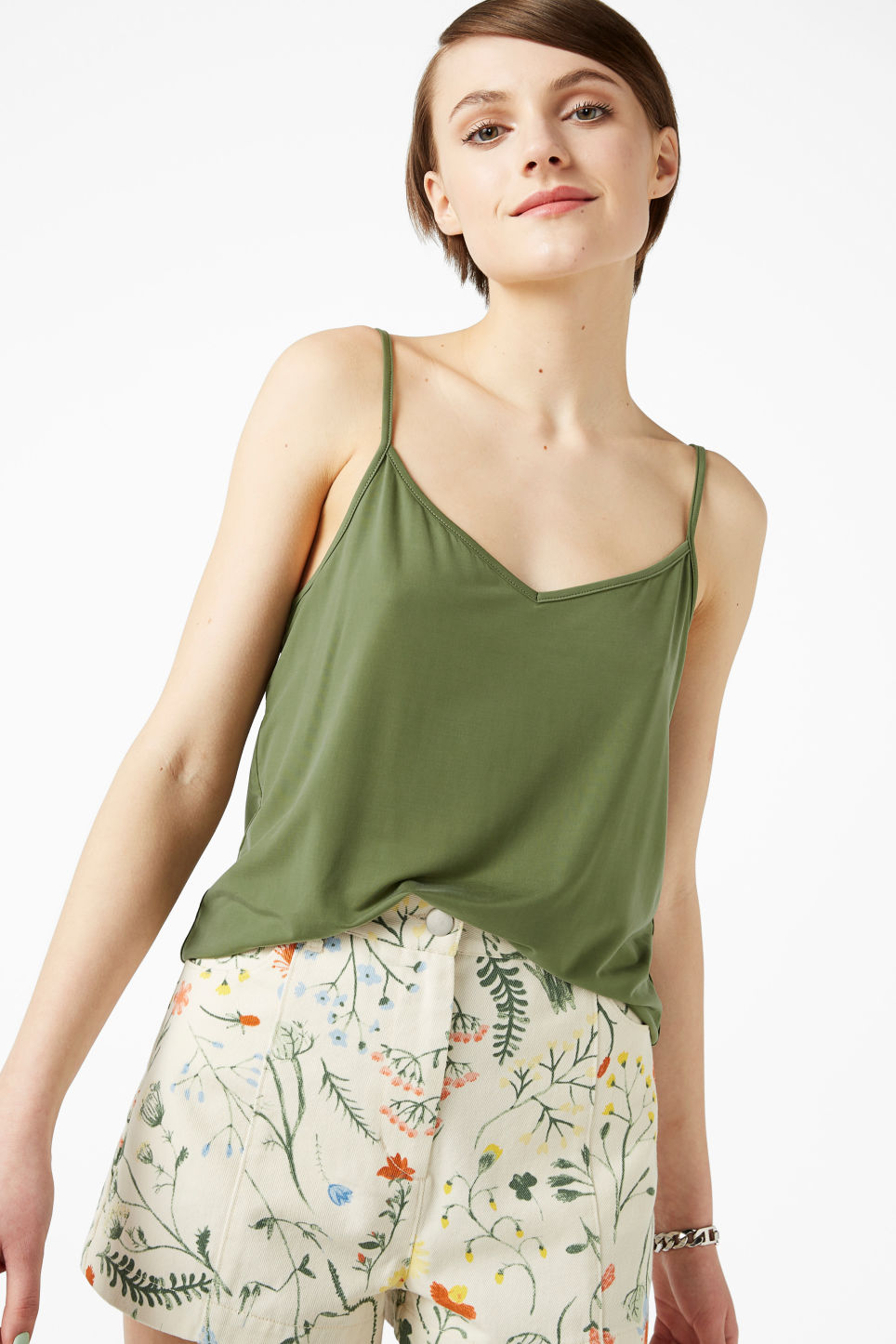 Model front image of Monki spaghetti strap singlet in green