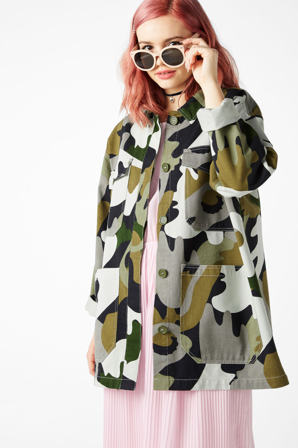 Model front image of Monki wide fit jacket in green