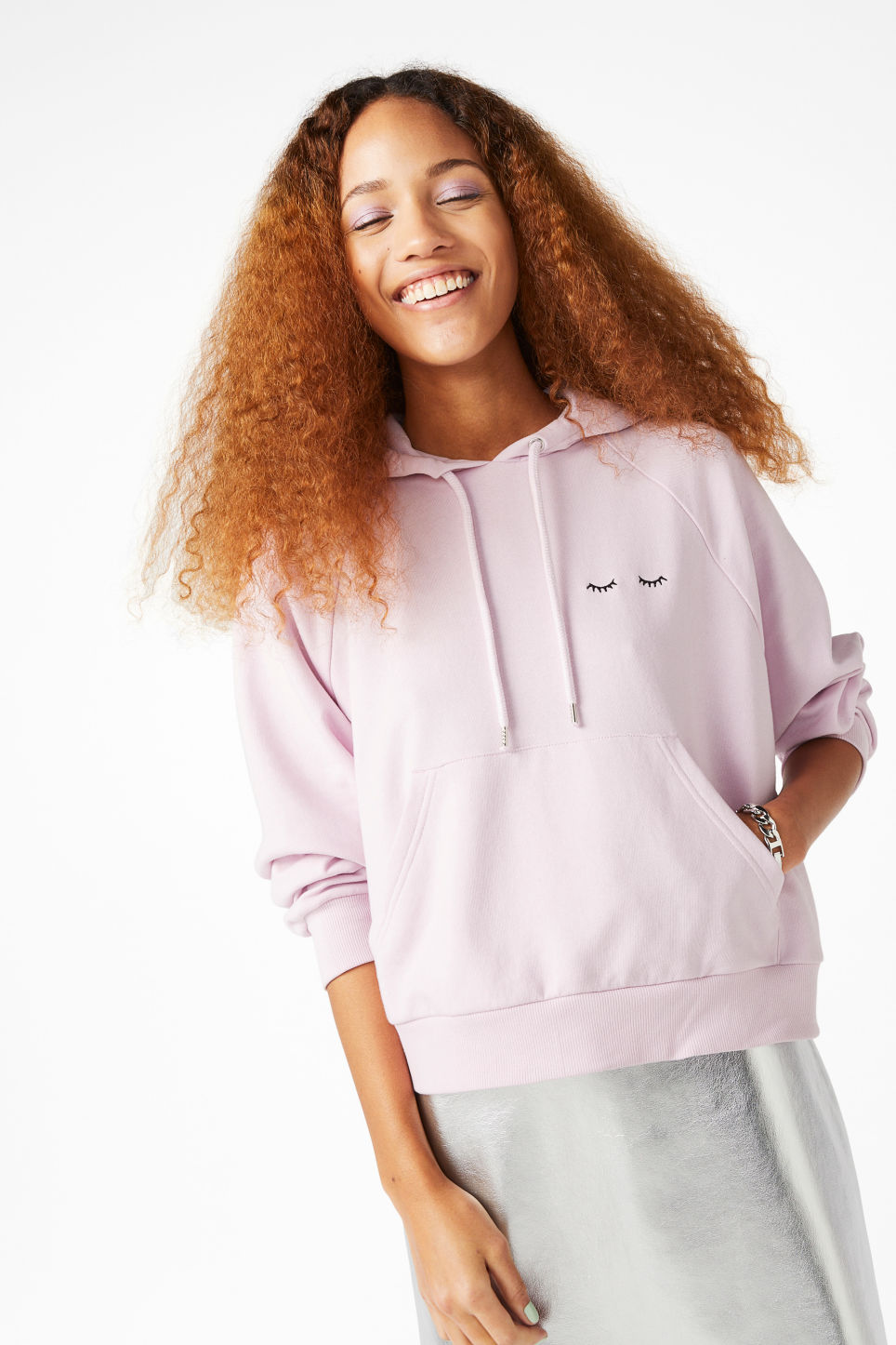 Model front image of Monki cropped hoodie in purple