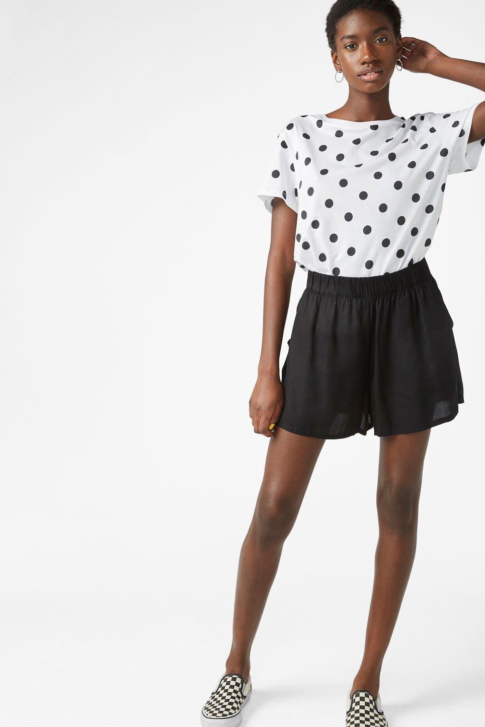 Model front image of Monki loose fit shorts in black
