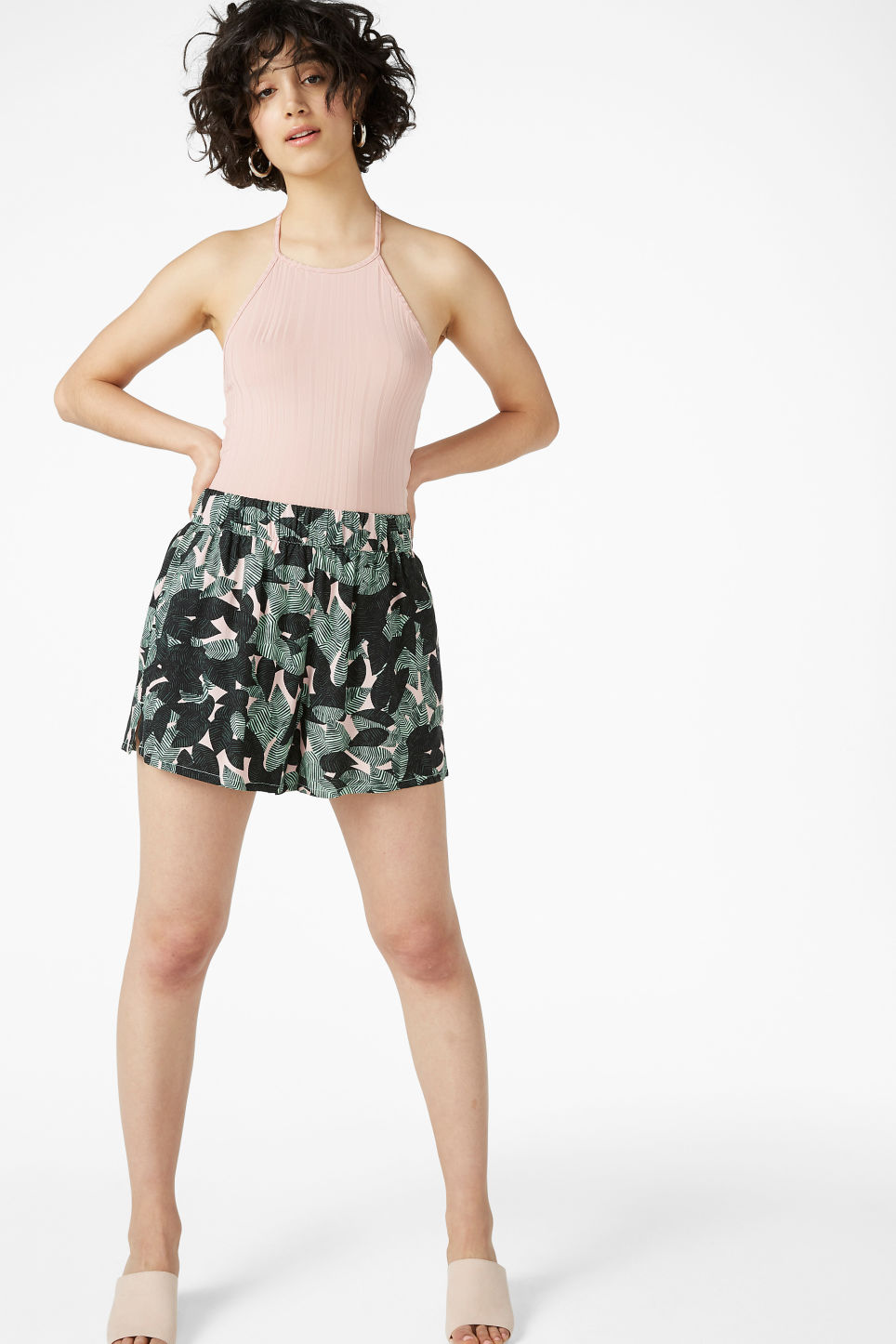 Model front image of Monki loose fit shorts in green
