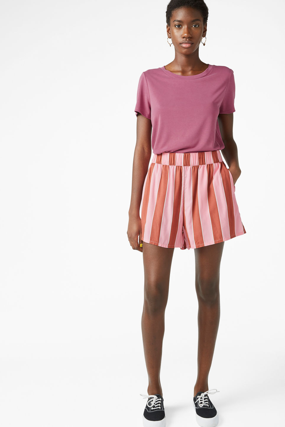Model front image of Monki loose fit shorts in pink