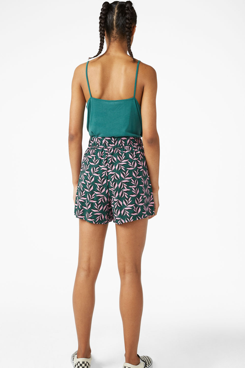 Model back image of Monki loose fit shorts in green