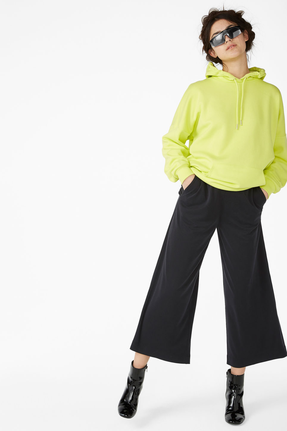 Model front image of Monki super-soft trousers in black