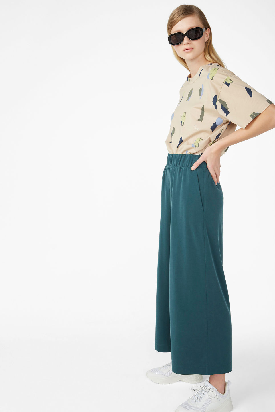 Model front image of Monki super-soft trousers in green