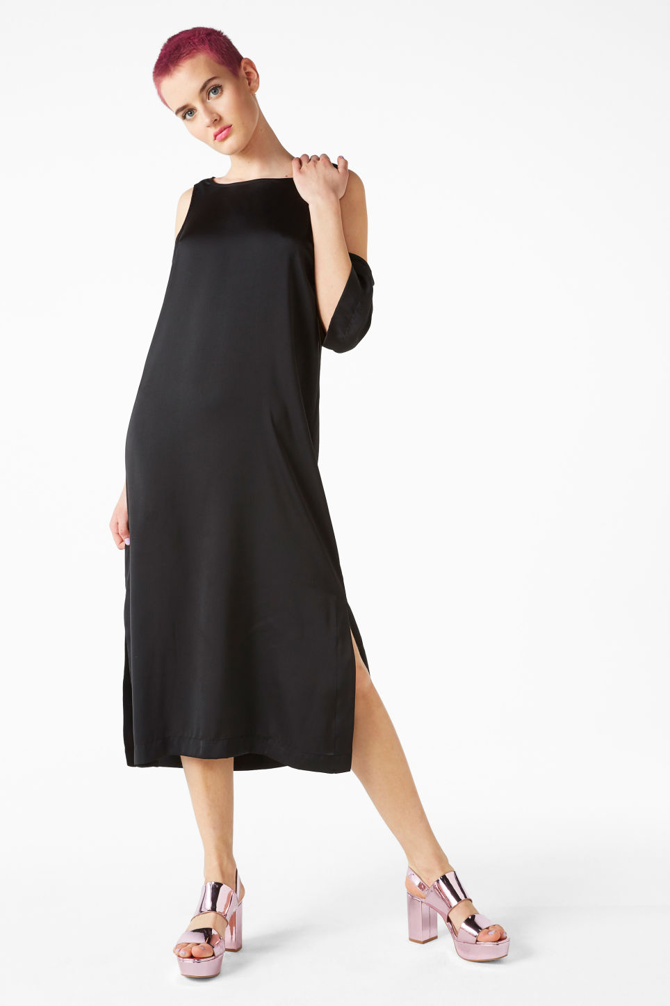 Model front image of Monki long cold shoulder dress in black