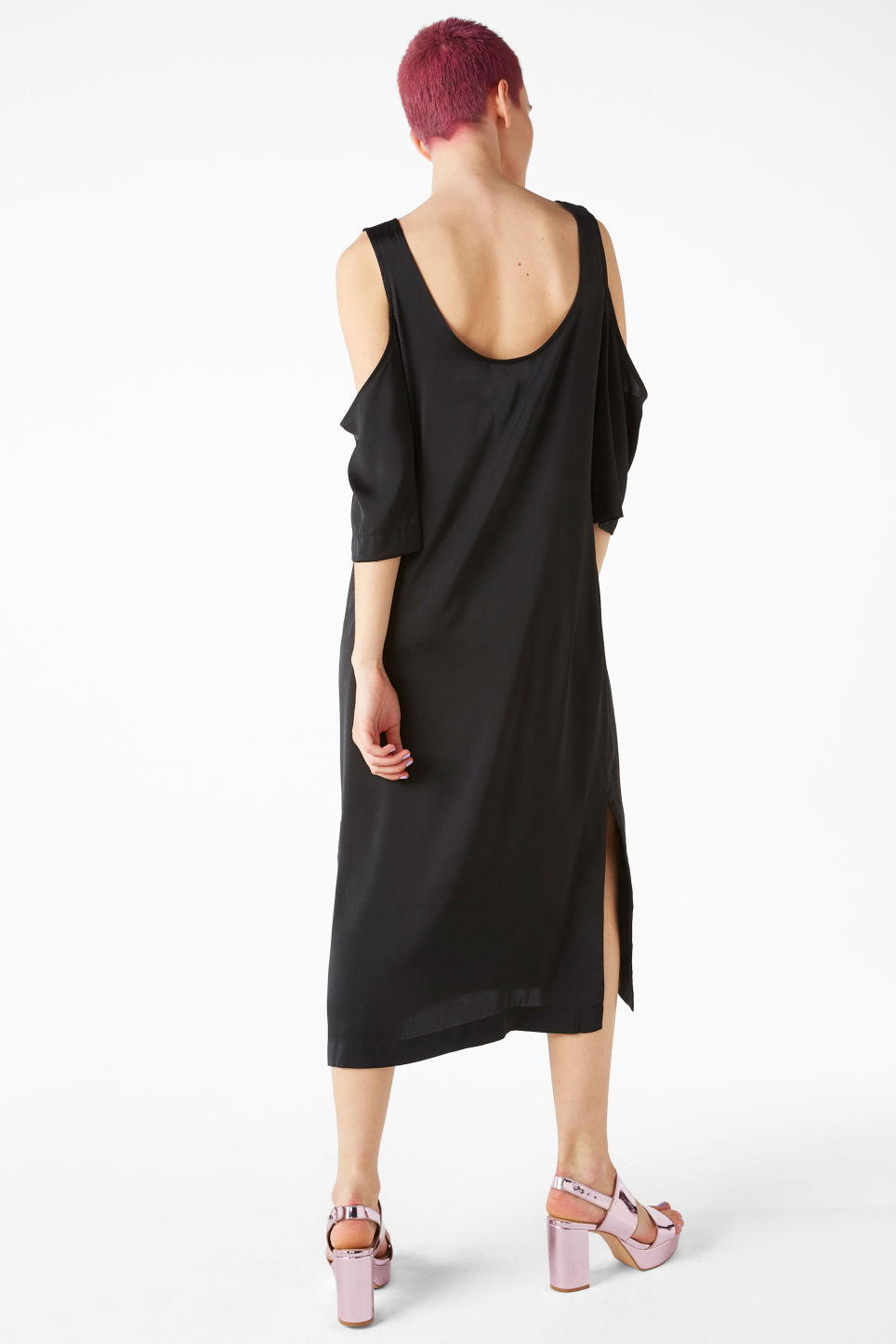 Model back image of Monki long cold shoulder dress in black