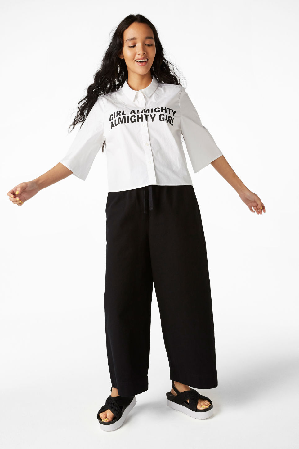 Model front image of Monki cropped shirt in white