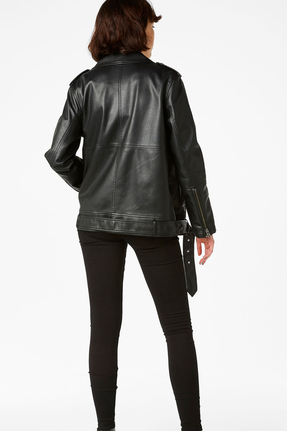 Model back image of Monki biker jacket in black