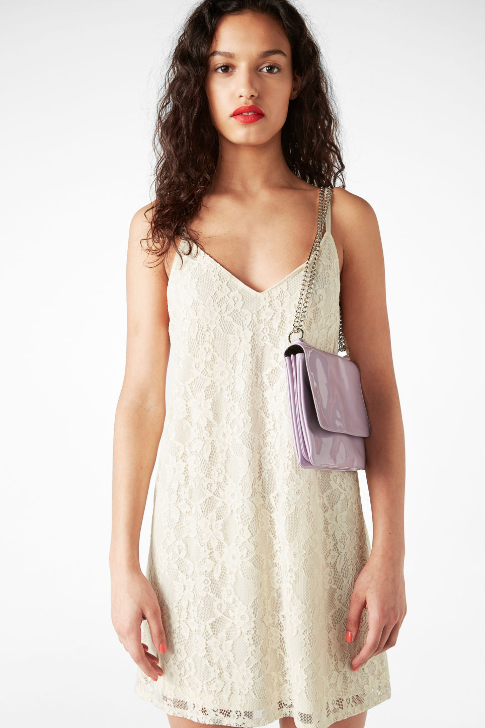 Model front image of Monki lil black lace dress in white