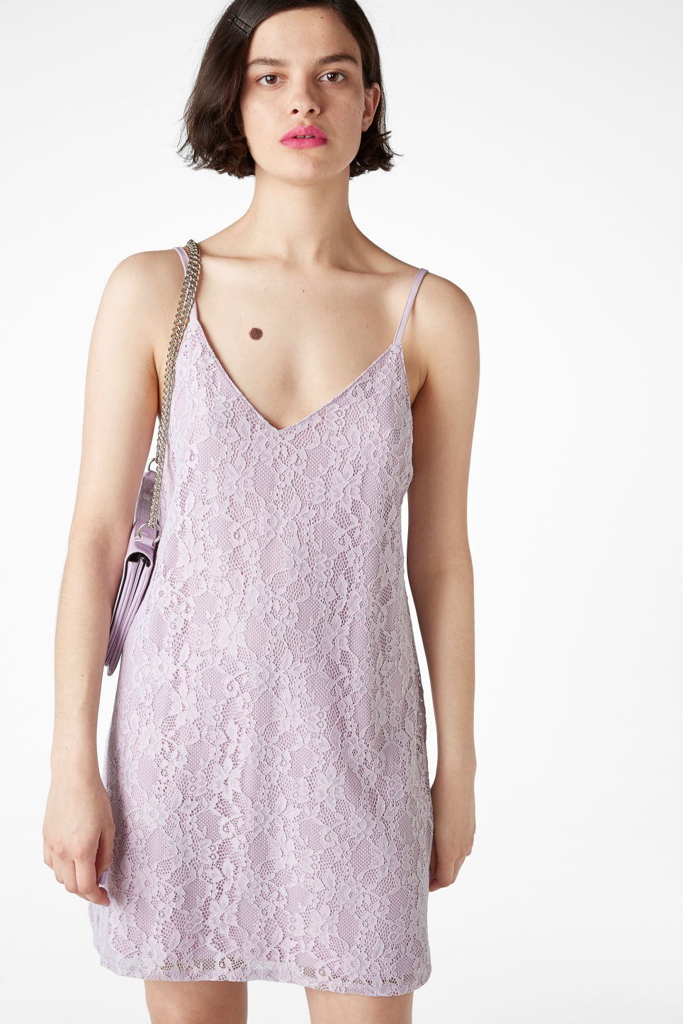 Model front image of Monki lil black lace dress in purple