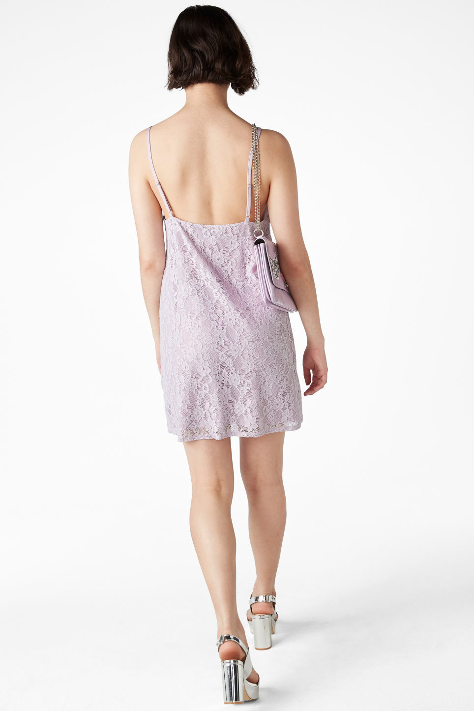 Model back image of Monki lil black lace dress in purple